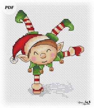 схема вышивки эльф рождественский