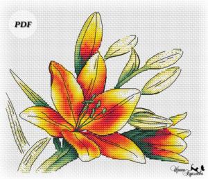 схема вышивки яркие цветы